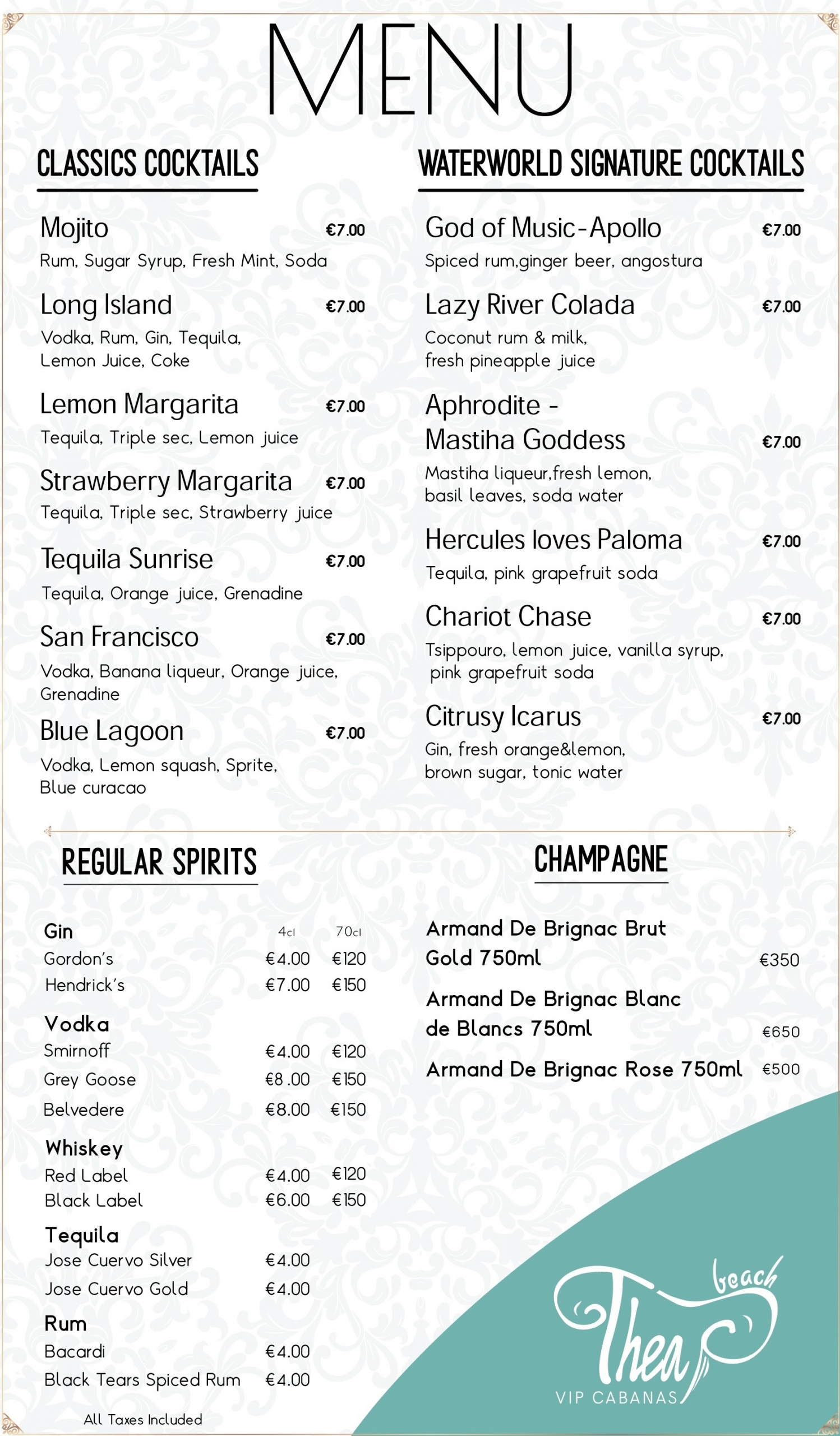 The Wave Pool Party Menu